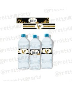 Gold and black New Year Water Bottle Labels