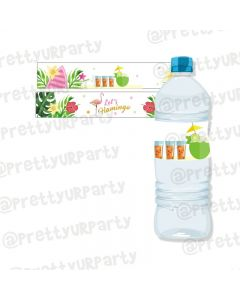 Flamingo Theme Water Bottle Labels