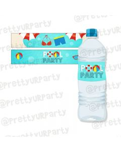 Splash Pool Theme Water Bottle Labels
