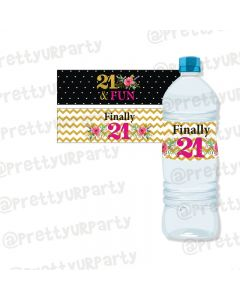 21st Birthday Theme Water Bottle Labels