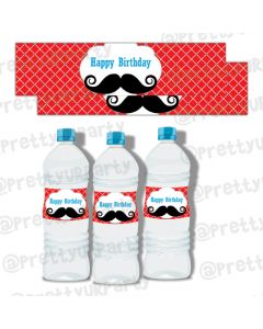 Moustache Water Bottle Labels