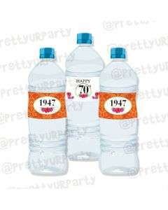 70th Birthday Theme Water Bottle Labels
