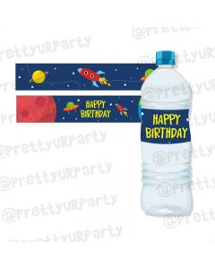 Space Theme Water Bottle Labels