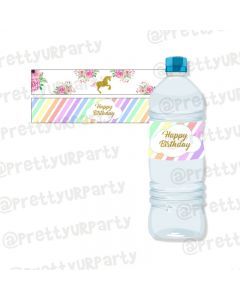 Unicorn Theme Water Bottle Labels