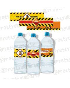 New Construction Theme Water Bottle Labels