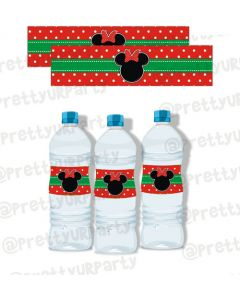 Christmas Minnie Mouse Water Bottle Labels