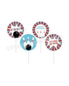 Bowling Theme Cupcake / Food Toppers