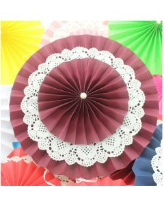 Brown Rosette Paper Fans with Doily