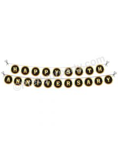 Black and Gold 50th Anniversary Bunting