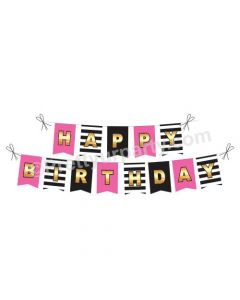 Pink and Black Stripes Happy Birthday Bunting
