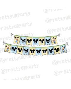 Baby Mickey Mouse 1st birthday Bunting