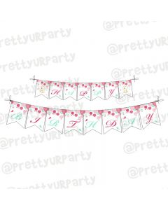 Mint and Pink Floral 1st Birthday Theme Bunting