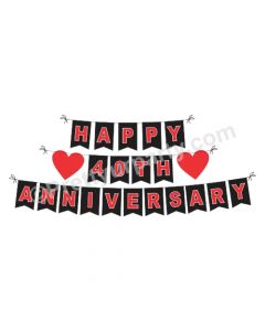 Red and Black 40th Anniversary Bunting