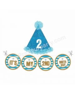 2nd Birthday Cap and Bunting Set - Blue