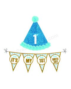 1st Birthday Cap and Bunting Set - Blue