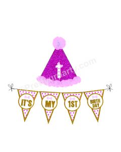 1st Birthday Cap and Bunting Set - Pink