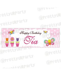 Personalized Butterfly Birthday Banner 36in With Photo