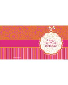 custom best wishes birthday damask & stripes