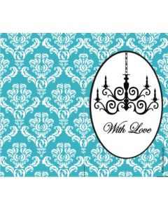 custom best wishes blue damask chandelier