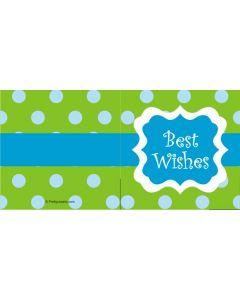custom best wishes green & blue polka dot