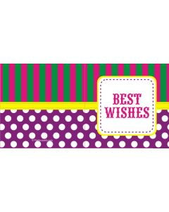 custom best wishes purple polka dot & stripes