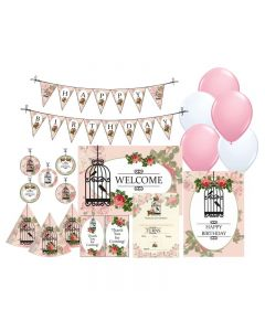 Pink Floral and Bird Cage Party Decorations