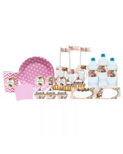 Pink Floral and Bird Cage Tableware Package