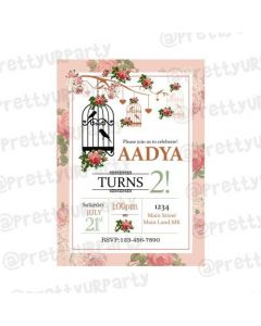 Pink Floral and Bird Cage Theme E-Invitations