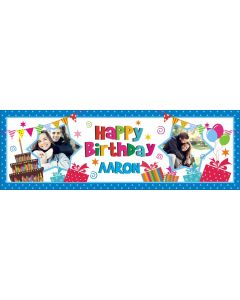 personalised cake and gifts banner