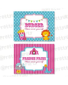 girly carnival food labels / buffet table cards