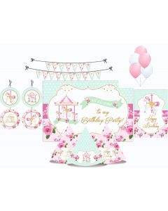 Carousel Party Decorations Package - 70 pieces