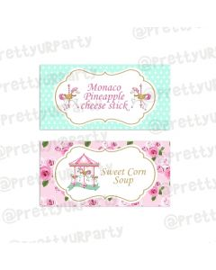 Carousel food labels / buffet table cards