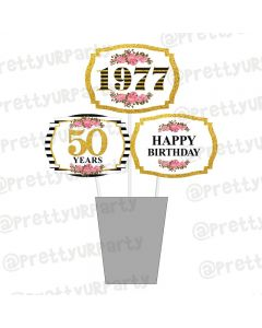 Milestone Birthday Theme Centerpieces
