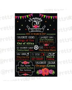 70th Birthday Chalkboard Poster