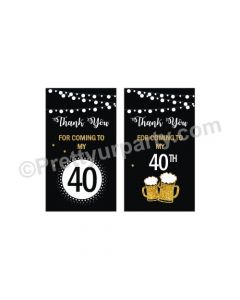 Cheers to 40th Birthday Theme Thankyou Cards