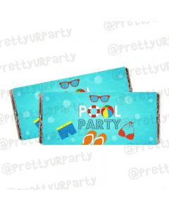 Splash Pool Party Theme Chocolate Wrappers