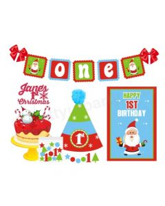 1st Birthday Merry Christmas Theme Package