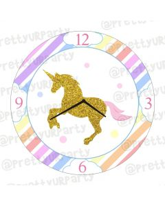 Personalised Unicorn Theme Clock - Round