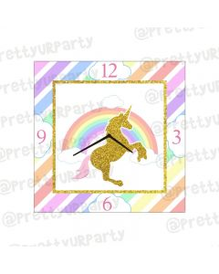 Personalised Unicorn Clock - Square