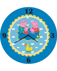 Peppa Pig Inspired Round Clock