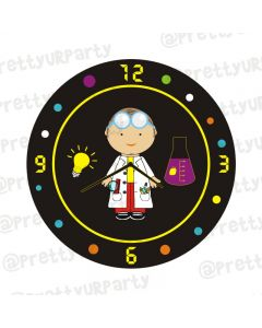 Personalised Mad Scientist Theme Clock - Round
