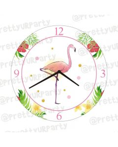 Personalised Flamingo Theme Clock - Round