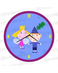 Personalised Ben and Holly's Little Kingdom Theme Clock - Round