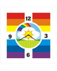 rainbow square clock