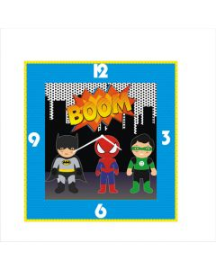 super hero square clock