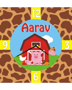 Personalised Farm Friends Clock - Square