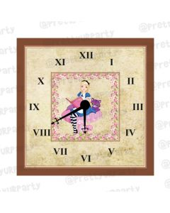 Personalised Alice in Wonderland Inspired Clock - Square