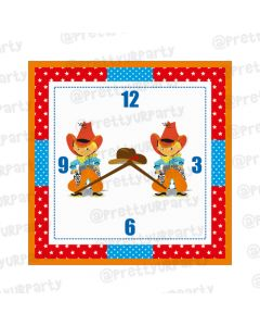 Personalised Little Cowboy Clock - Square