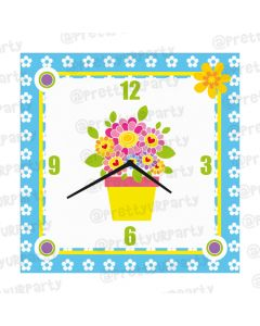Personalised Flowers Clock - Square