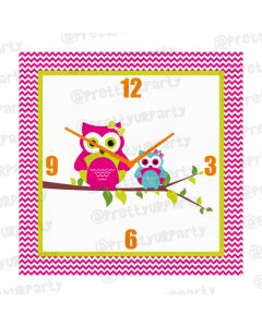 Personalised Girly Owl Clock - Square